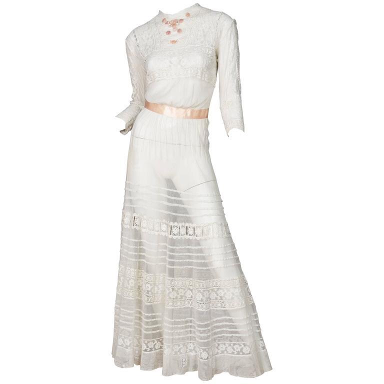 Antique Sheer Edwardian Net and Lace Tea Dress