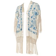 Fringed Kimono Jacket Made from a Hand Embroidered Chinese Shawl
