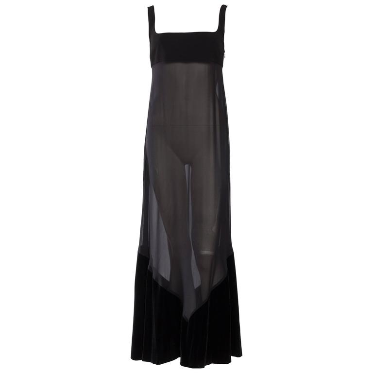 1990s Gianfranco Ferre Sheer and Velvet Gown For Sale