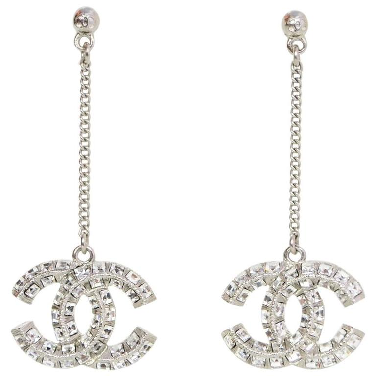 Chanel Pave Crystal Cc Drop Pierced Earrings For