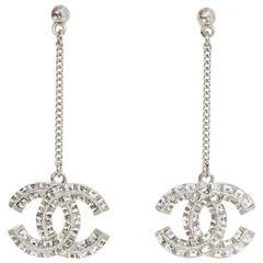 Chanel Pave Crystal CC Drop Pierced Earrings