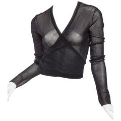 1990s Jean Paul Gaultier Sheer Mesh Wrap Top