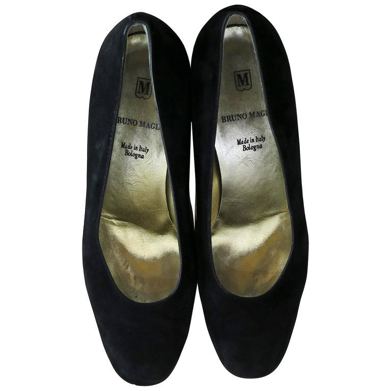 1990s Bruno Magli Black Studded Block Heels