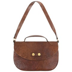 """ALEXANDER McQUEEN """"Faithful Flapper"""" Brown Distressed Leather Saddle Bag Purse"""