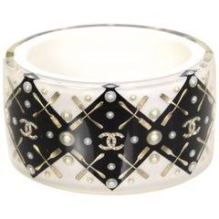 Chanel Black & White Coco Brasserie CC Fork Cuff Bracelet