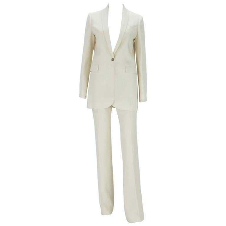 New $2760 GUCCI Alabaster Satin Women's Pant Suit It. 40 - US 4