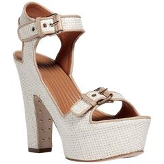 New GIVENCHY Raffia Sand Nappa Beige Platform Shoes Sandals It 39 - US 9