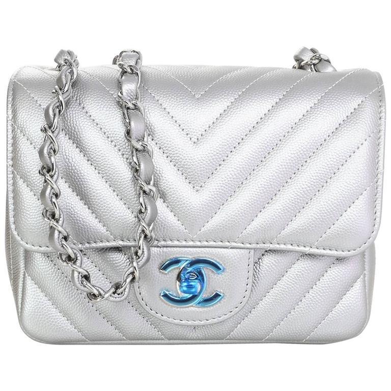 Chanel New 2017 Silver Caviar Leather Chevron Square Mini Flap Bag W Receipt For