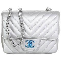 Chanel NEW 2016 Silver Caviar Leather Chevron Square Mini Flap Bag w/ Receipt