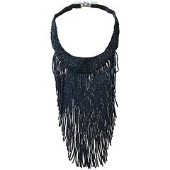 Christian Dior by John Galliano Outstanding Glass Jet Bead Fringed Bib Necklace