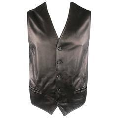 Men's DOLCE & GABBANA 46 Black Sheep Leather V Neck Vest