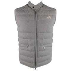 Men's MONCLER XXL Heather Grey Quilted Cotton Down Vest