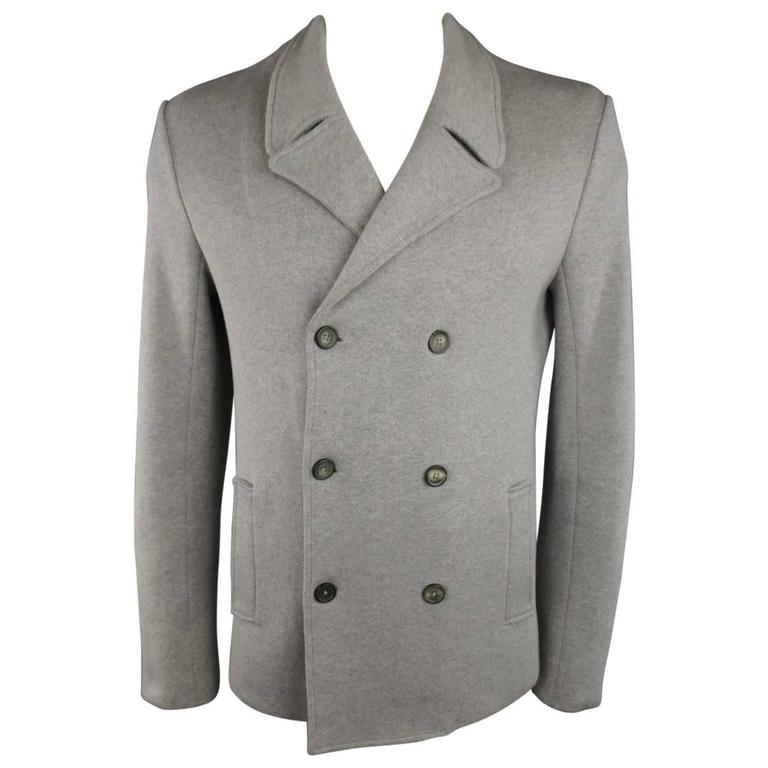 Men's JIL SANDER 42 Light Grey Cotton Knit Double Breasted Sport Coat Jacket