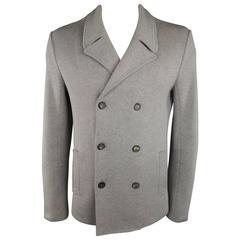 Men's JIL SANDER 42 Light Grey Cotton Knit Double Breasted Sport Coat Jacket