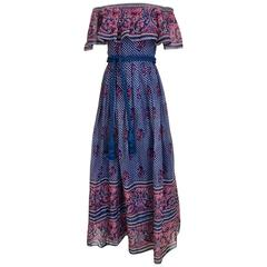 1970s Vintage Blue and Pink Paisley Print Off Shoulder 70s Maxi Dress