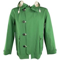 Men's BURBERRY PRORSUM 44 Green Coated Cotton Hooded Jacket