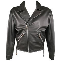 CHROME HEARTS Black Leather Sterling Sliver Sward & Star Hardware Biker Jacket
