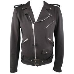 COMME des GARCONS BLACK 46 Black Polyester Twill Moto Biker Jacket