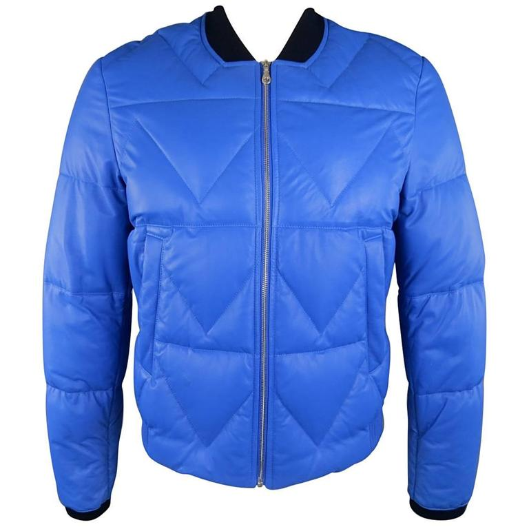 Men's KENZO L Blue Chevron Quilted Leather Bomber Jacket 1