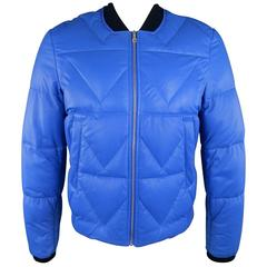 Men's KENZO L Blue Chevron Quilted Leather Bomber Jacket