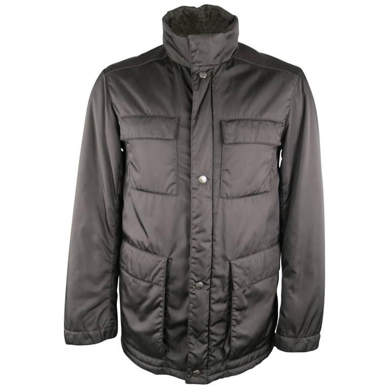 Men's PRADA 40 Black Patch Pocket Leather Shoulder Military Jacket