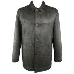Men's PRADA 46 Black Shearling Collared Button Up Coat