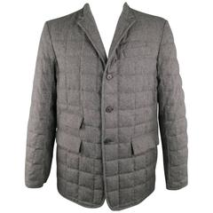 Men's BLACK FLEECE 44 Dark Gray Quilted Down Wool Sport Coat Jacket