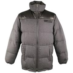 Men's PRADA XL Grey & Black Quilted Wool & Leather High Neck Puffer Jacket