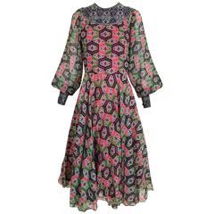 1970s Indian Print Multi Color Cotton 70s vintage Summer dress