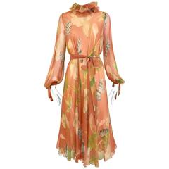 1970s Anna Weatherly Bohemian silk chiffon long sleeve dress
