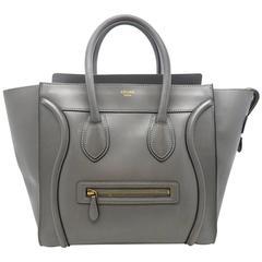 Celine Mini Luggage Grey Calfskin Leather Tote Bag