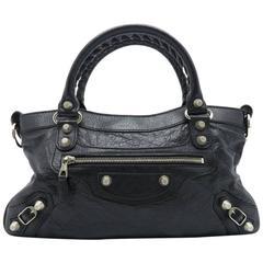 Balenciaga Black Lambskin Leather Silver Metal Satchel Bag