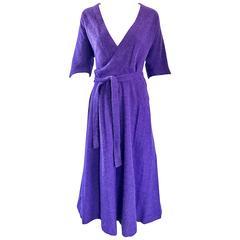 1970s Roberta di Camerino Purple Angora Mohair Purple 3/4 Sleeves Vintage Dress