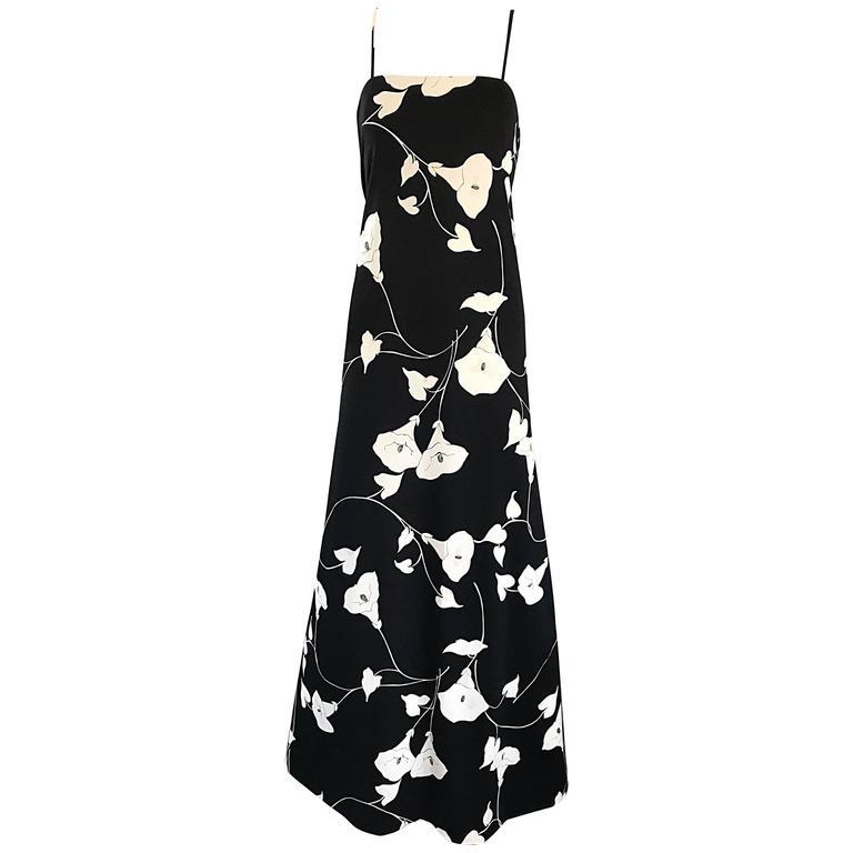 Luis Estevez 1970s Black and White Tulip Print Vintage 70s Maxi Dress Gown