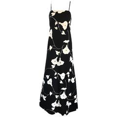 Luis Estevez 1970s Black and White Tulip Print Vintage 70s Maxi Dress Gown