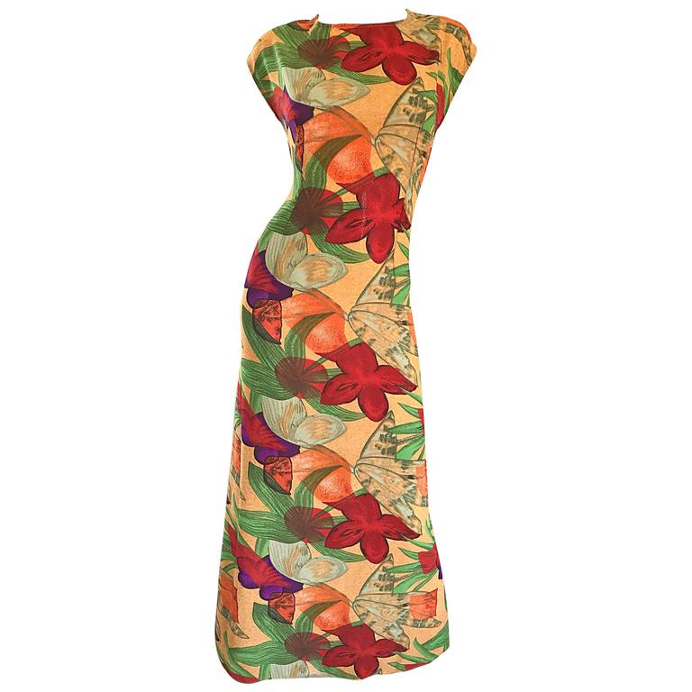 Vintage Halston Gorgeous Size 8 Botanical Tropical Print Cap Sleeve Maxi Dress