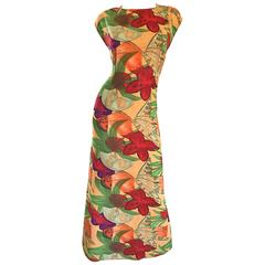 Vintage Halston Gorgeous Size 8 Botanical Tropical Print Cap Sleeve Maxi Dress