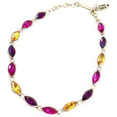 Beautiful Vintage Yves Saint Laurent Pink + Purple + Citrine Choker Necklace