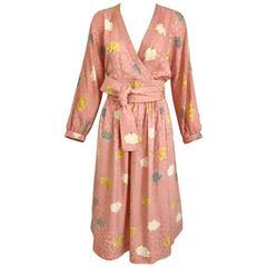1970s Adele simpson light pink floral print wrap dress with  belt