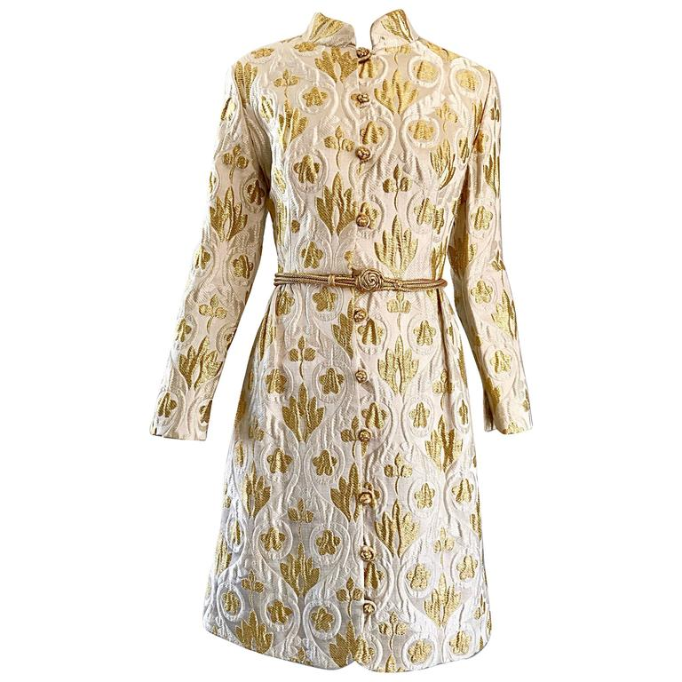 Victor Costa Romantica 1960s Gold + Ivory Silk Brocade Vintage 60s Belted Dress For Sale
