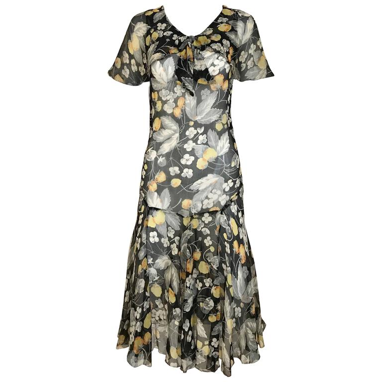 1930s floral print black, grey, orange floral print silk chiffon day dress