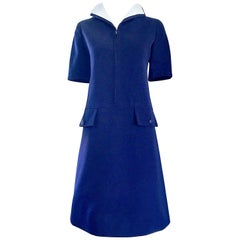 Yves Saint Laurent Haute Couture Navy Blue and White Nautical Dress, 1960s