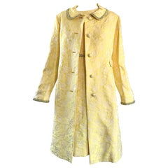 Chic 1960s Mademoiselle Canary Yellow Silk Borcade A - Line Dress & Jacket Suit