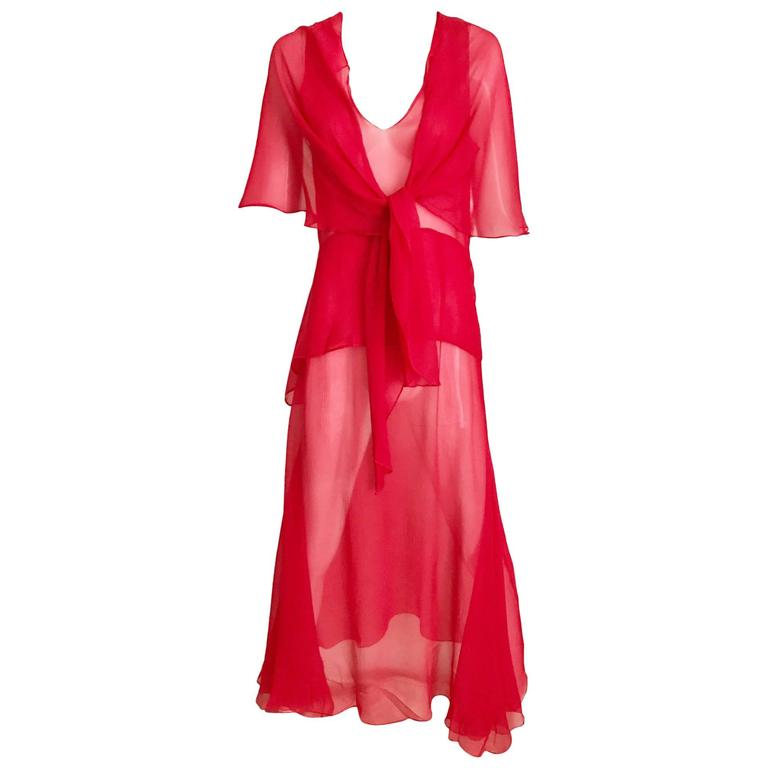 1930s Red Silk Evening 30s Vintage Dress