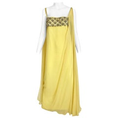 1960s Yellow Silk Chiffon Grecian gown