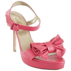 Valentino Pink Leather Bow Heels - 41