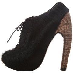 Iris Van Herpen Black Lace Up Pony Hair Boots Snake Chain Heels, Fall 2014