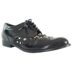 Dolce & Gabbana Black Stud and Rhinestone Oxfords - 41