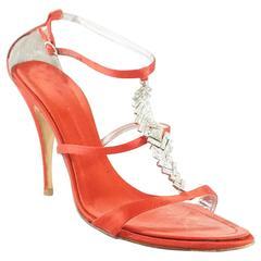 Giuseppe Zanotti Red Satin Sandals with Rhinestones - 40