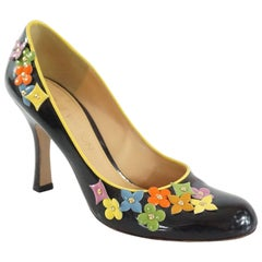 Louis Vuitton Black Patent Pumps with Multi Flowers - 36